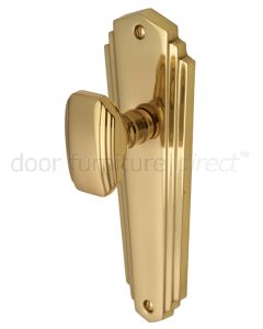 Charlston Art Deco Style Polished Brass Door Knob on Latch Plate Set