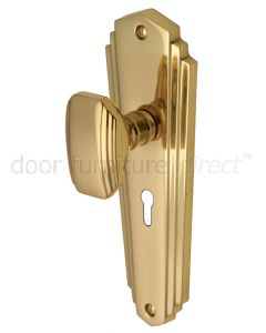 Charlston Art Deco Style Polished Brass Keyhole Door Knob Set