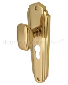 Charlston Art Deco Style Polished Brass 48mm Euro Cylinder Door Knob Set