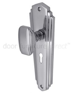Charlston Art Deco Style Polished Chrome Keyhole Door Knob Set