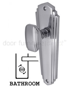 Charlston Art Deco Style Polished Chrome Bathroom Door Knob Set