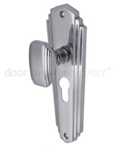 Charlston Art Deco Style Polished Chrome 48mm Euro Door Knob Set