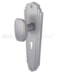 Charlston Art Deco Style Satin Chrome Keyhole Door Knob Set
