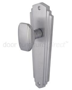 Charlston Art Deco Style Satin Chrome Door Knob on Latch Plate Set