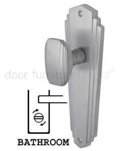 Charlston Art Deco Style Satin Chrome Bathroom Door Knob Set