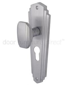 Charlston Art Deco Style Satin Chrome 48mm Euro Door Knob Set