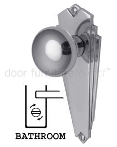 Broadway Polished Chrome Bathroom Door Knob Set