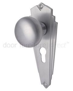 Broadway Satin Chrome 48mm Euro Cylinder Door Knob Set
