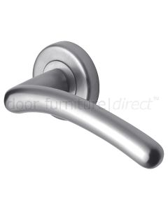 Ico Satin Chrome Curved Lever on Rose Set