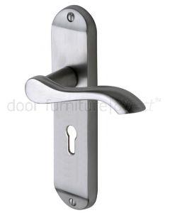 Aurora Satin Chrome Scroll Lever Keyhole Door Handles