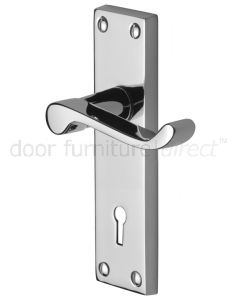 Contract Victorian Polished Chrome Plain Keyhole Door Handles