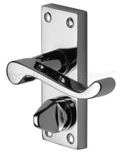 Contract Victorian Polished Chrome Plain Privacy Lock Door Handles