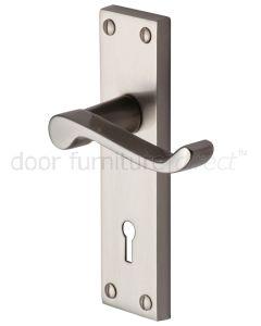 Contract Plain Victorian Satin Nickel Scroll Keyhole Door Handles