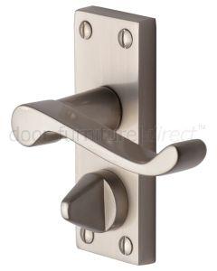 Contract Plain Victorian Satin Nickel Scroll Privacy Lock Door Handles