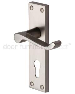 Contract Plain Victorian Satin Nickel Scroll Lever 48mm Euro Door Handles