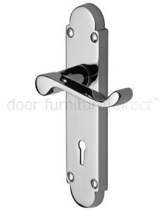 Contract Victorian Polished Chrome Scroll Lever Keyhole Door Handles