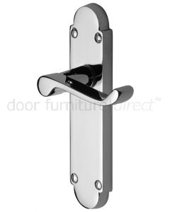 Contract Victorian Polished Chrome Scroll Lever Latch Door Handles