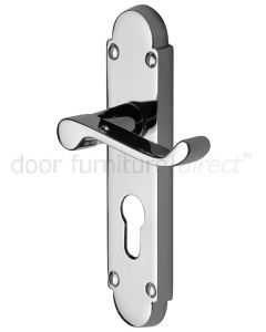 Contract Victorian Polished Chrome Scroll Lever 48mm Euro Door Handles