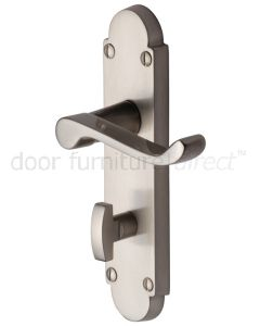 Contract Victorian Satin Nickel Scroll Lever Bathroom Door Handles