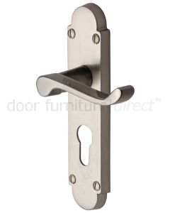 Contract Victorian Satin Nickel Scroll Lever 48mm Euro Door Handles