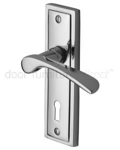 Contract Boston Polished Chrome Curved Lever Keyhole Door Handles