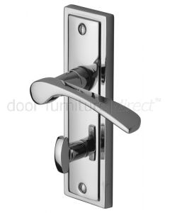 Contract Boston Polished Chrome Curved Lever Bathroom Handles