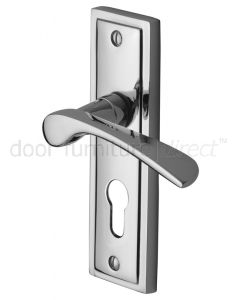 Contract Boston Polished Chrome Curved Lever 48mm Euro Door Handles