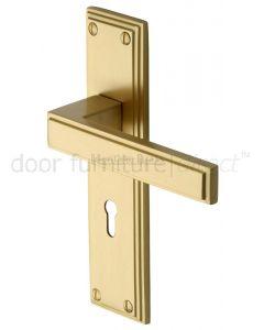 Heritage ATL5700 Satin Brass Atlantis Lock Door Handles