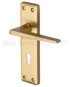 Heritage KEN6800 Satin Brass Kendal Lock Door Handles