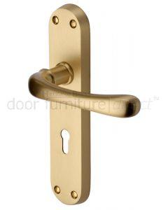 Heritage LUN5300 Satin Brass Luna Lock Door Handles
