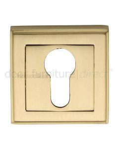 Heritage DEC7020 Satin Brass Square Euro Escutcheon 54mm