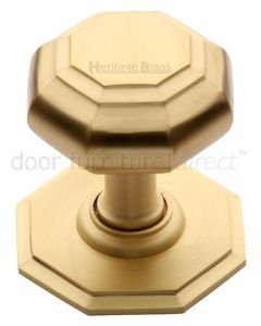Heritage V890 Satin Brass Octagonal Centre Door Knob 82mm