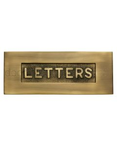 Heritage V845 Antique Brass Embossed Letter Box 254x101mm