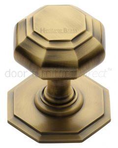 Heritage V890 Antique Brass Octagonal Centre Door Knob 3in