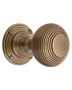 Heritage V971 Antique Brass Reeded Door Knobs 60mm