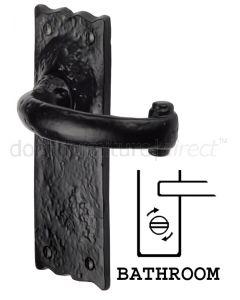 Tudor Colonial Black Antique Iron Curved Lever Bathroom Door Handles