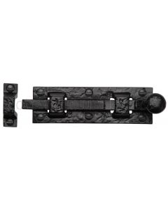 Black Antique Iron Tudor Round Knob Door Bolt 106mm