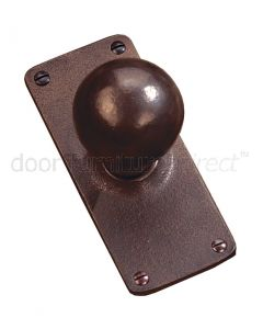 Rustic Bronze Ball Door Knob on Plate