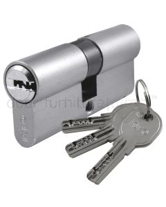 R6 6 Pin Nickel Double Key Euro Cylinder 30x30mm to 30x75mm