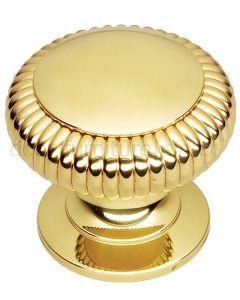 Brass Fluted Centre Door Knob 76mm