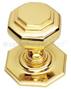 Polished Brass Octagonal Style Centre Door Knob 67mm