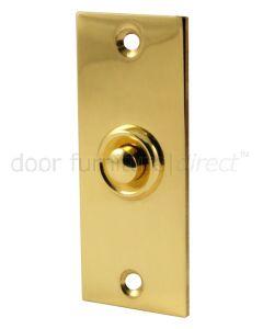 Polished Brass Flat Bell Push 76x32mm