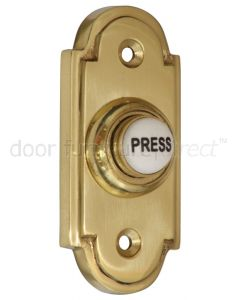 Brass Shaped Bell Push with China Press 76x33mm