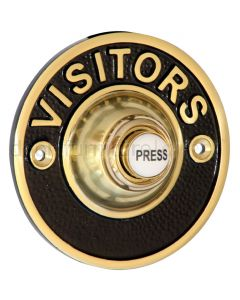 Brass and Black Visitors Bell Push 81mm