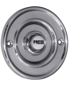 Polished Chrome Circular Bell Push with China Press 76mm