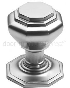 Satin Chrome Octagonal Design Front Door Knob 67mm
