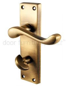 Antique Brass Plain Scroll Bathroom Door Handles