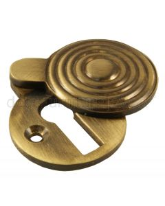 Antique Brass Reeded Covered Escutcheon 32mm