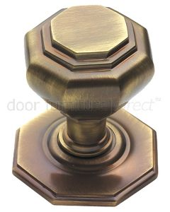 Antique Brass Octagonal Centre Door Knob 67mm