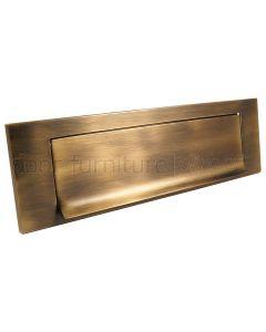 Antique Brass Gravity Flap Letter Plate 257x80mm